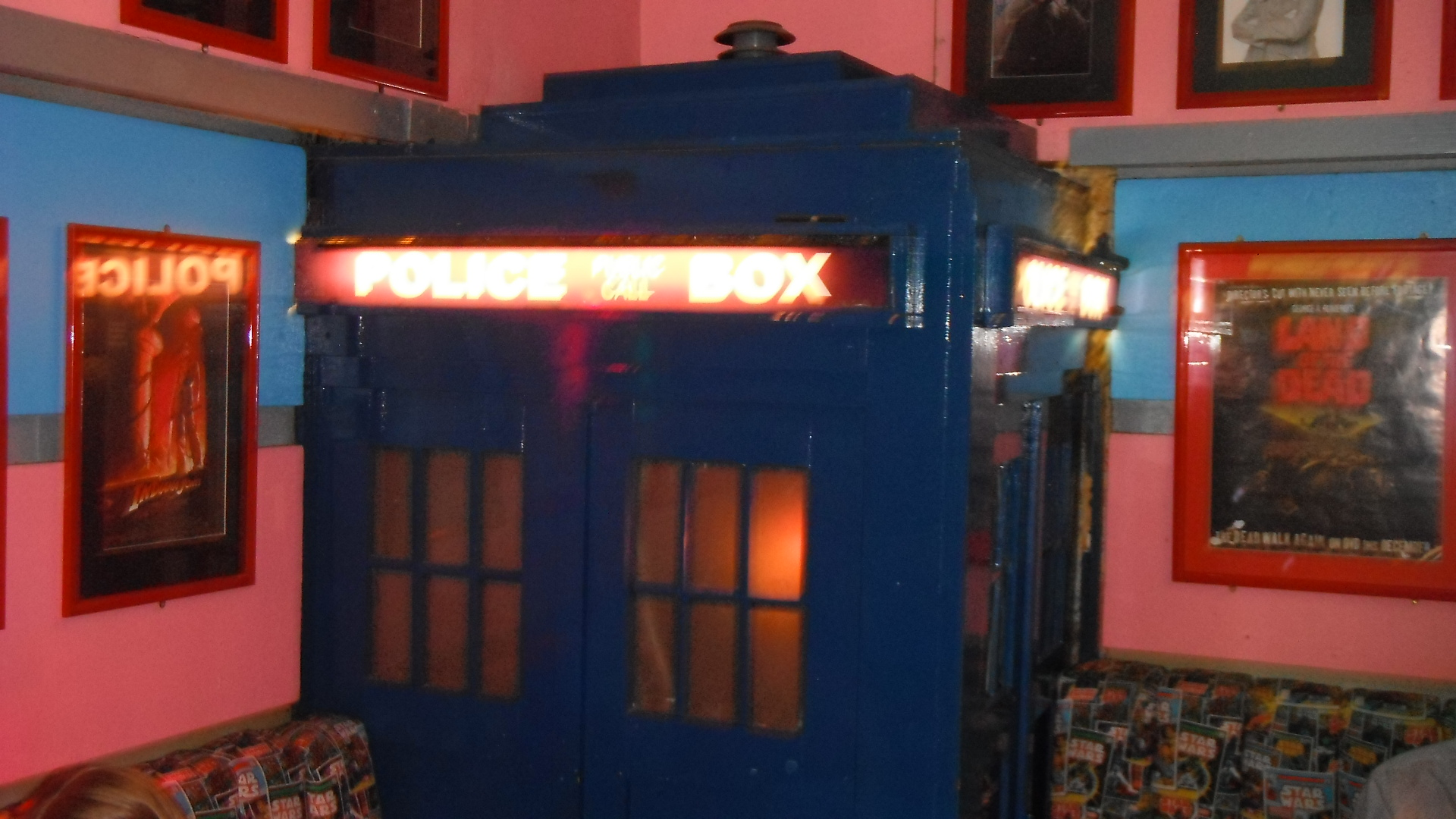 Dr Who TARDIS  time machine, taken by me in FAB Cafe, Manchester