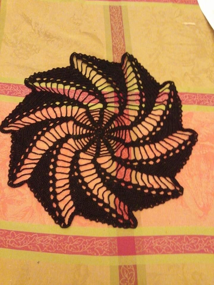 black doily that my gram crocheted for me on my tablecloth!