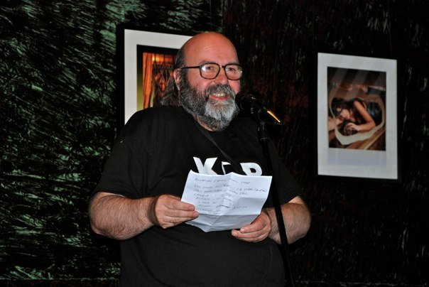 Photo - Me at an open mic event, at The Green Room, Manchester, taken by Andy N with my camera