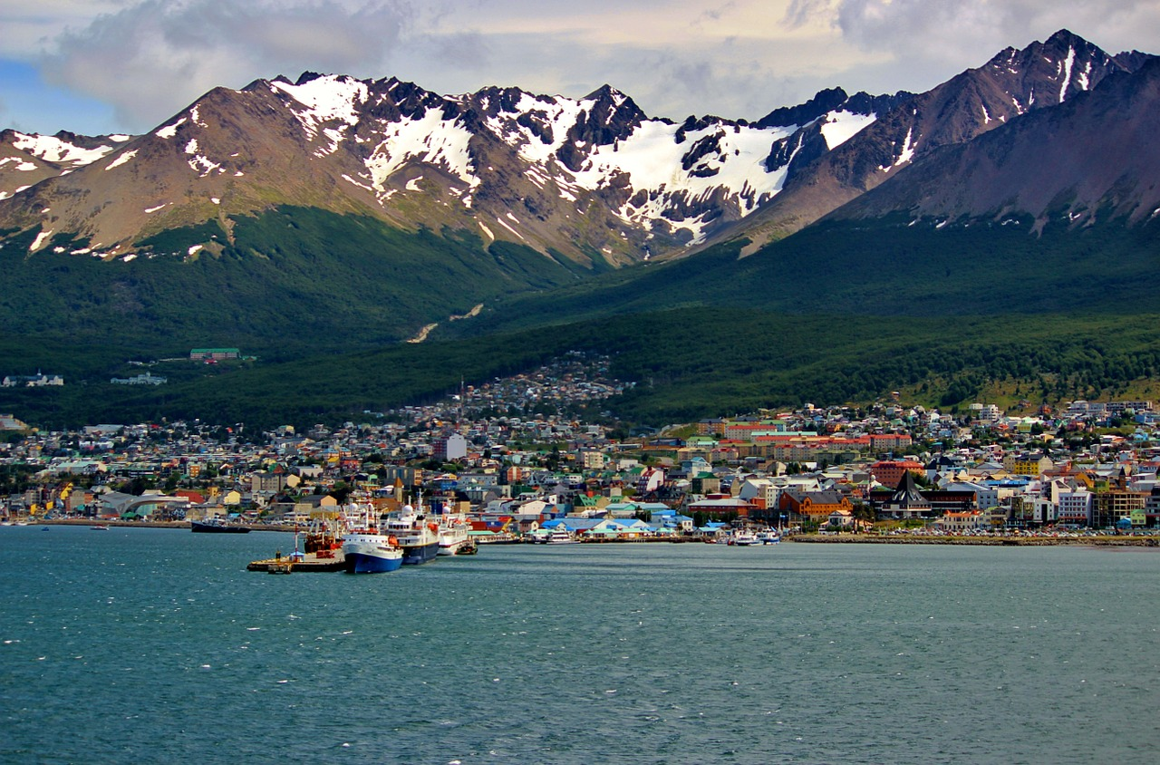 View of Ushuaia, a port city in Argentina with the snowcapped Martial Range in the background