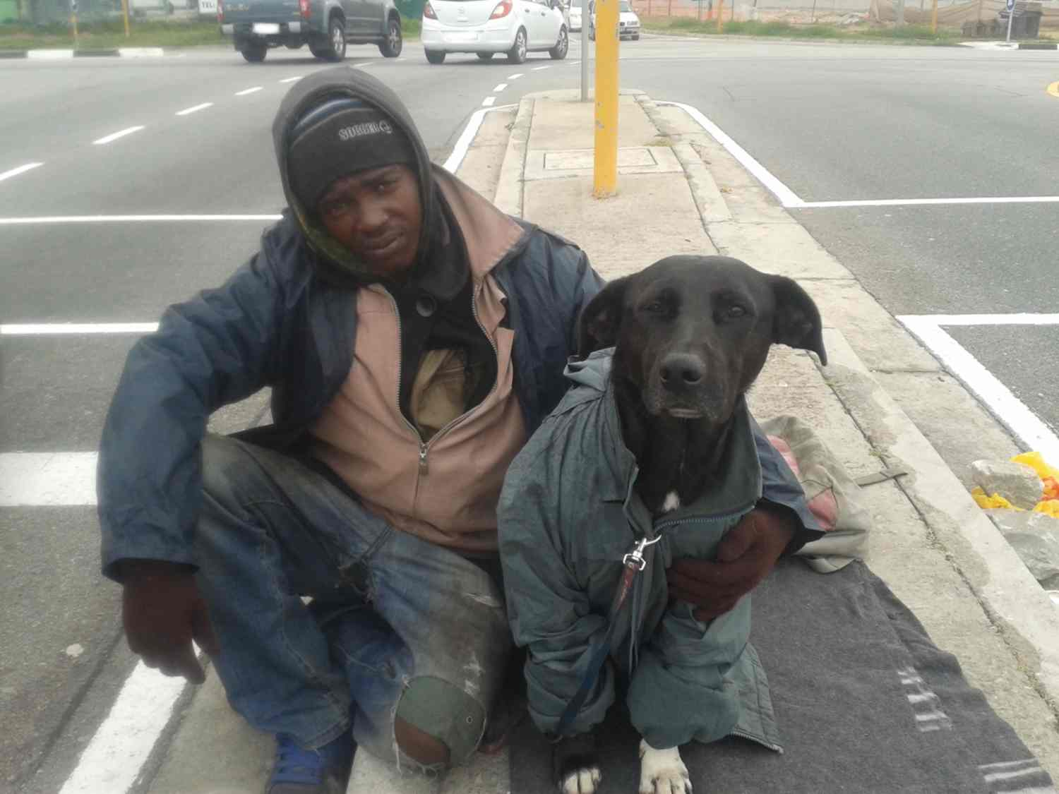 Beggar and his dog at the traffic lights
