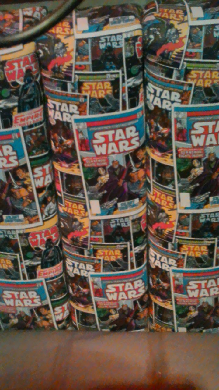 Photo taken by me  - Star Wars comic seat covers, FAB Café, Manchester