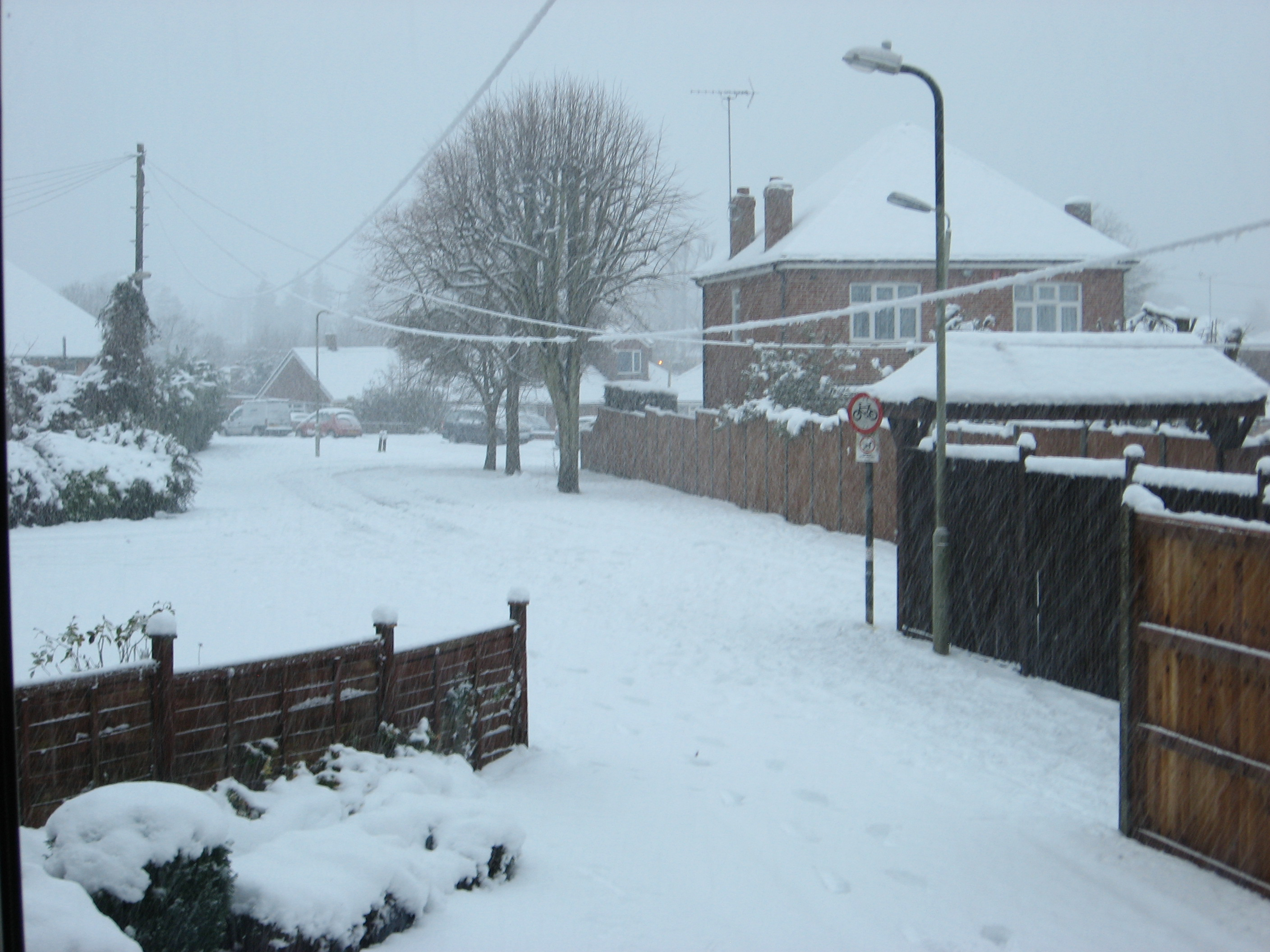 One of the rare occasions when there was notable snow in our road, January 2010.  Well, it seemed vaguely festive!