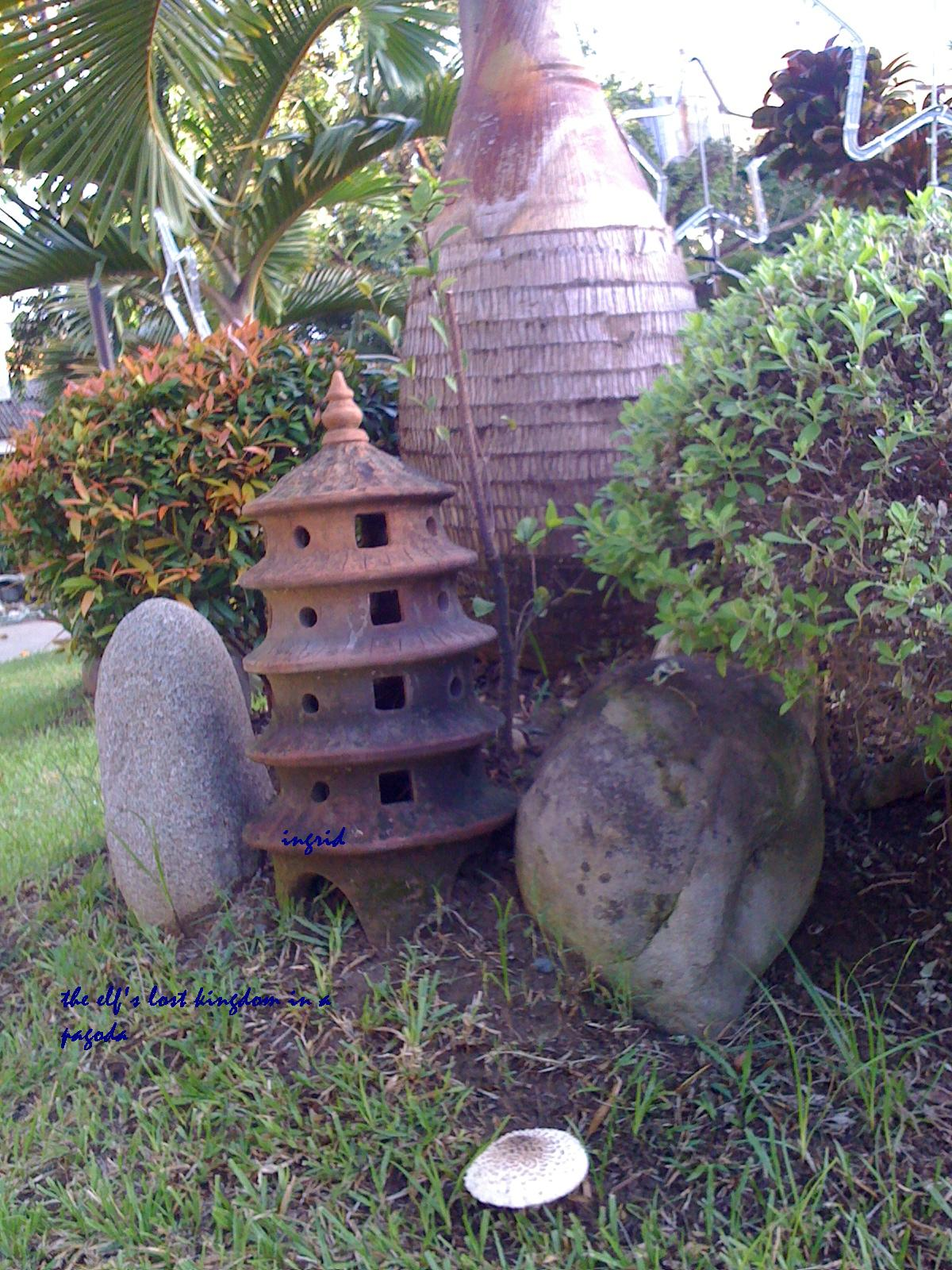 a miniature pagoda at the church.
