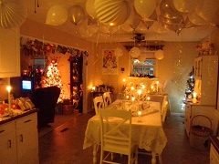 Some decorating we are doing for our annual December birthday party.