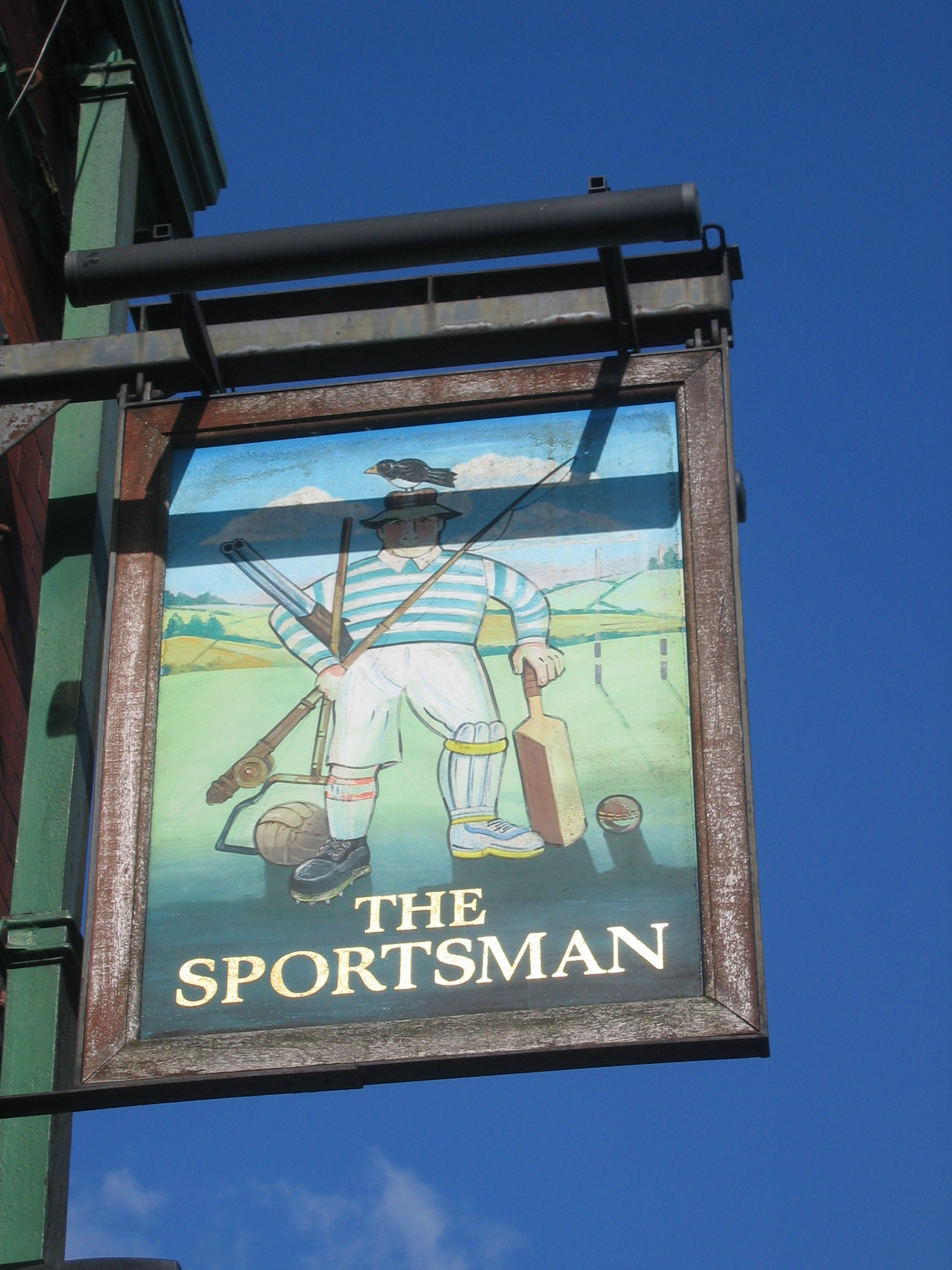 Photo taken by me – The Sportsman pub sign, Hyde, Manchester