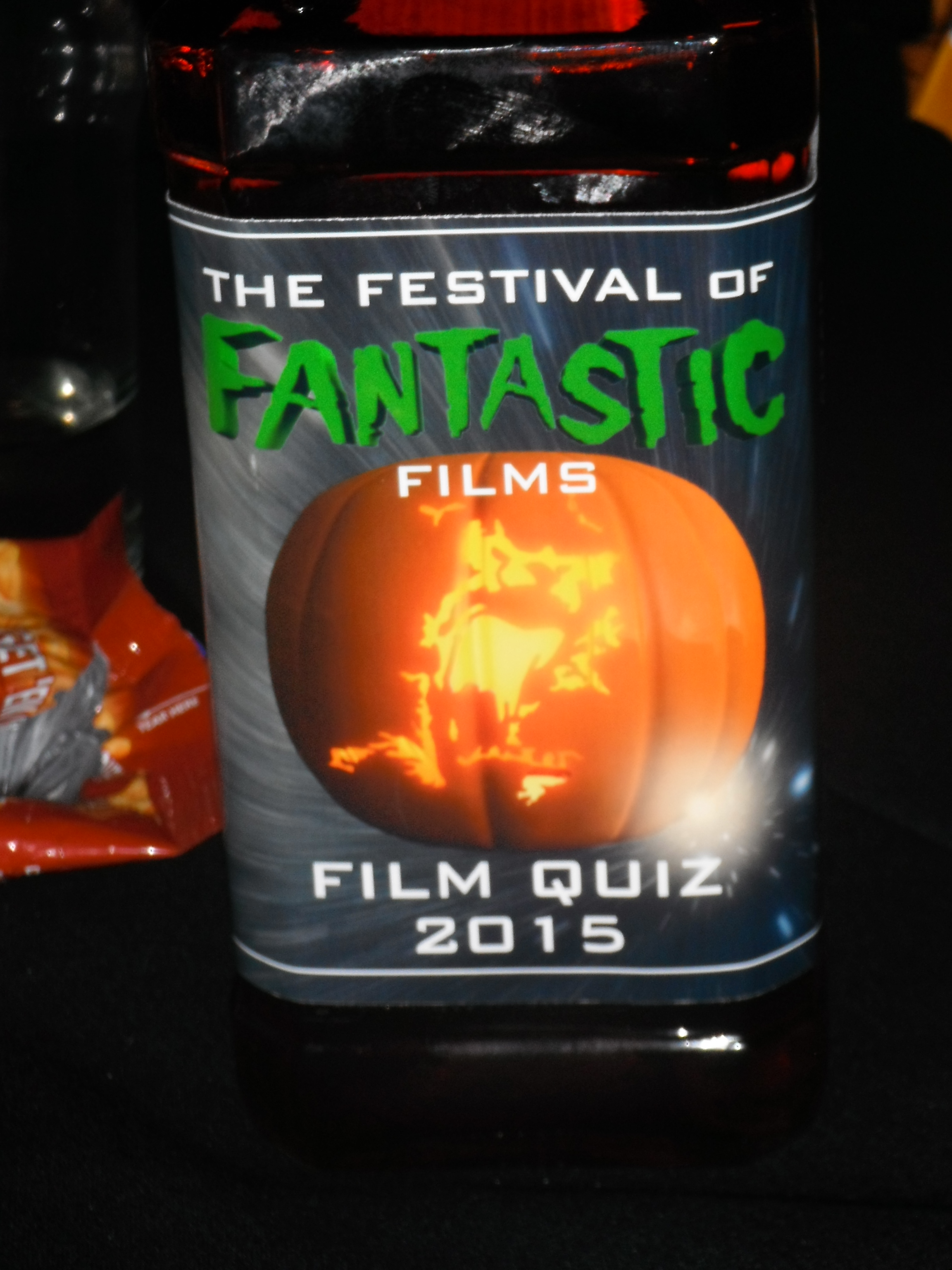 photo taken by me - Logo of the Festival Of Fantastic Films on a whiskey won by our team in the festival quiz.
