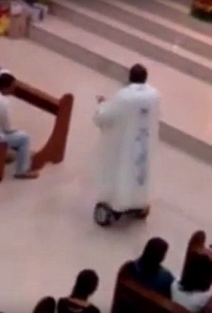 Priest on Hoverboard