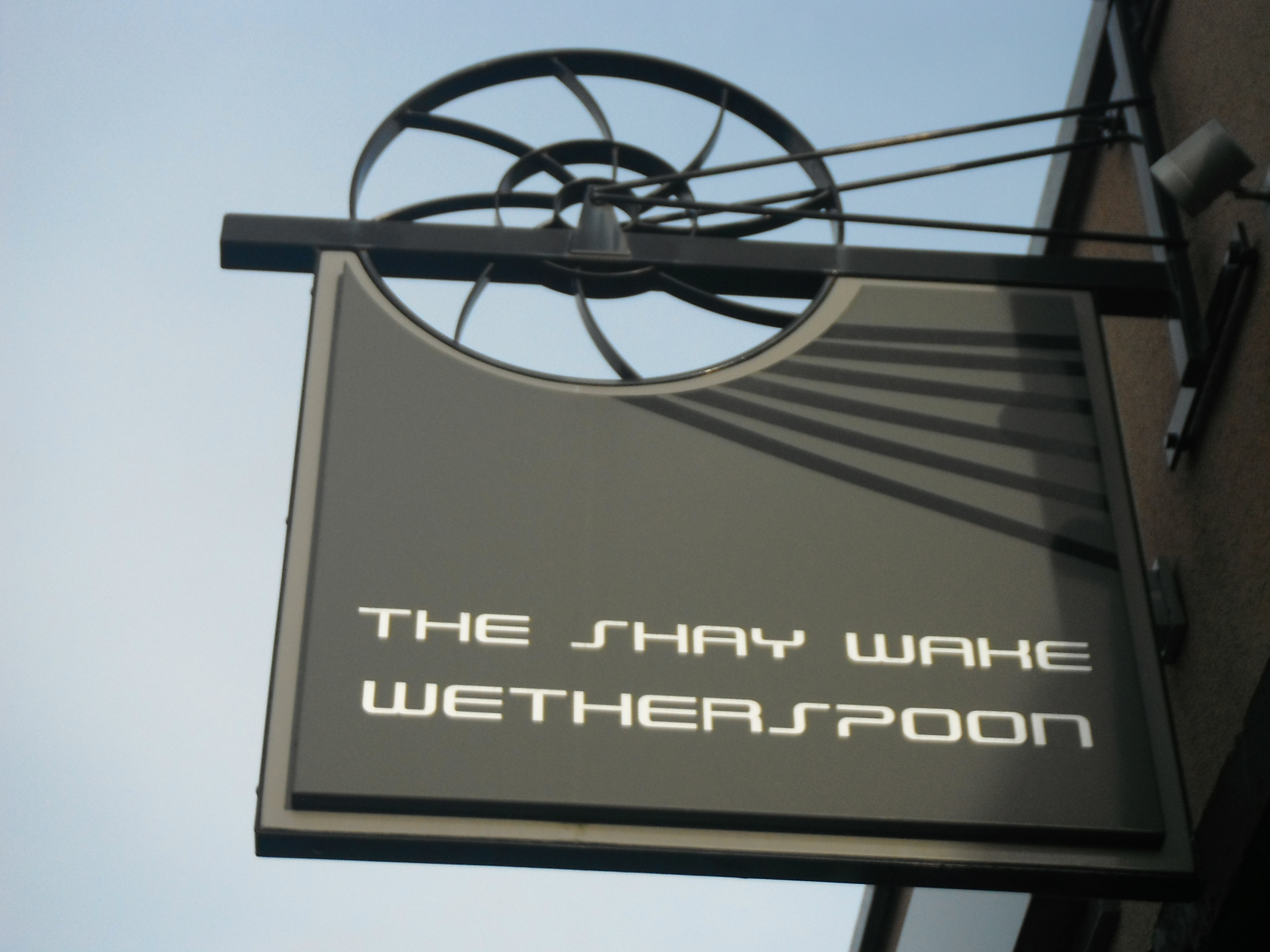 Photo taken by me – The Shay Wake pub sign, Shaw, Oldham