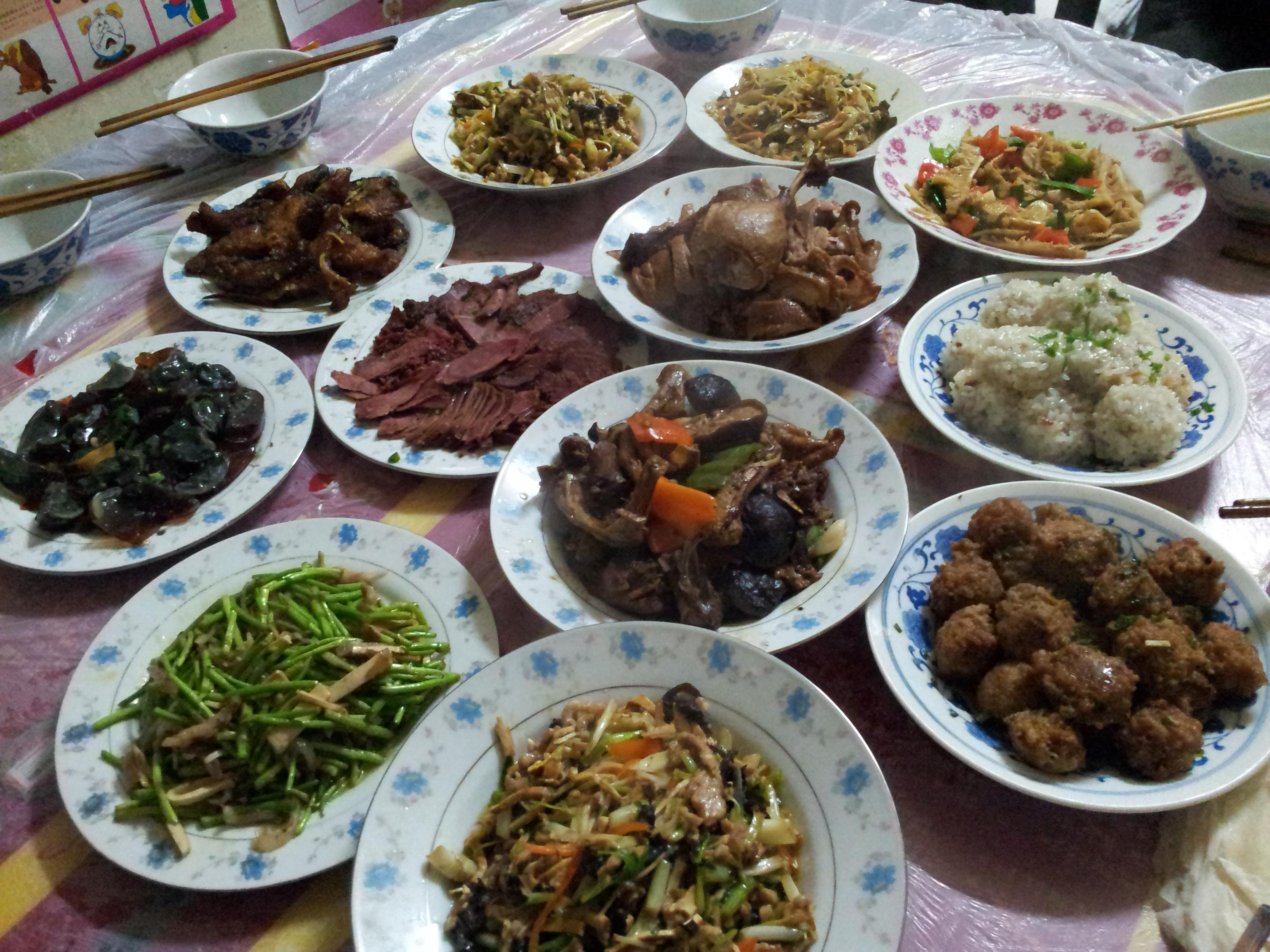 Dishes prepared by my wife for the family reunion dinner