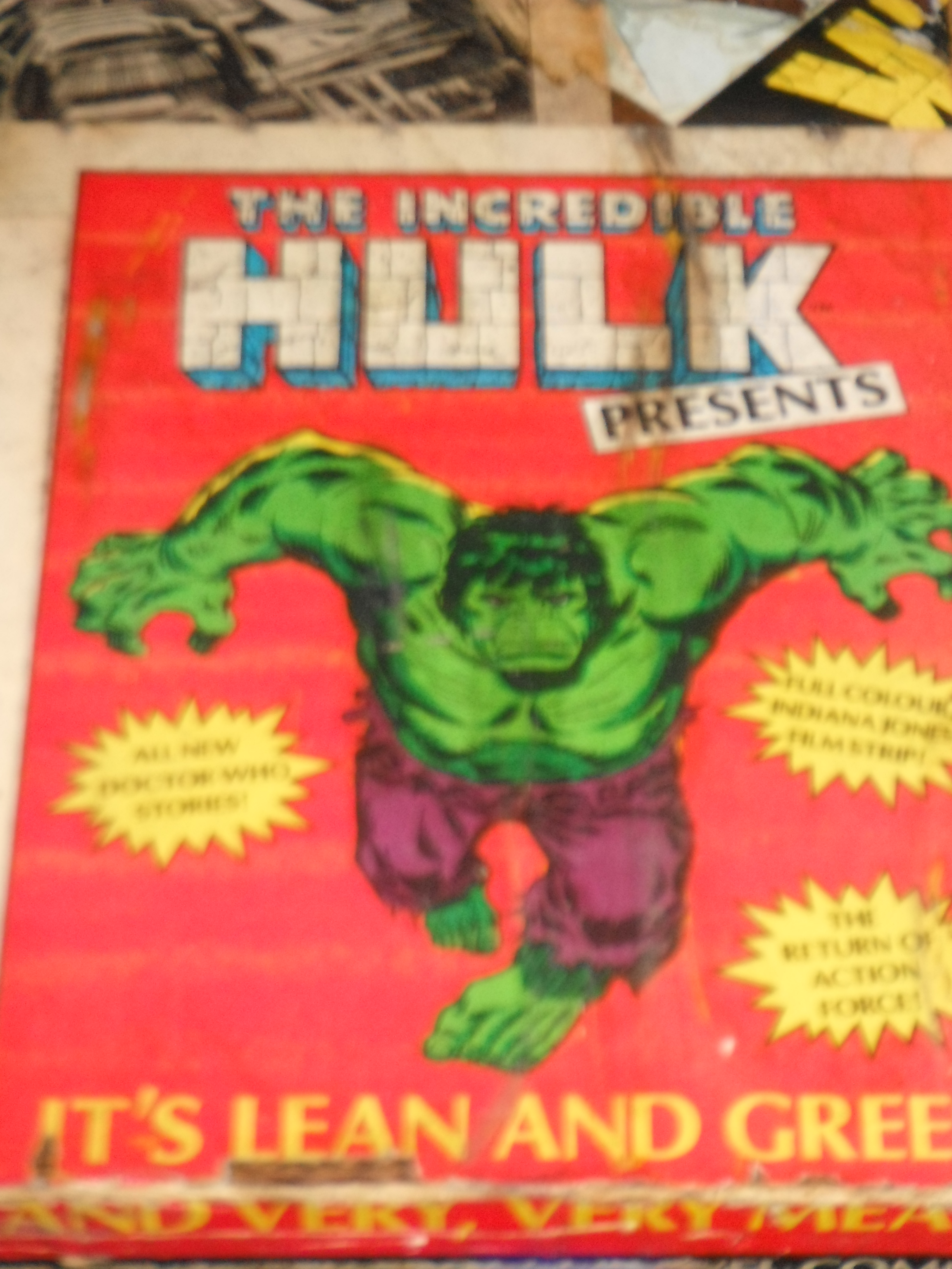 Photo taken by me – Hulk comic table cover, FAB Café, Manchester