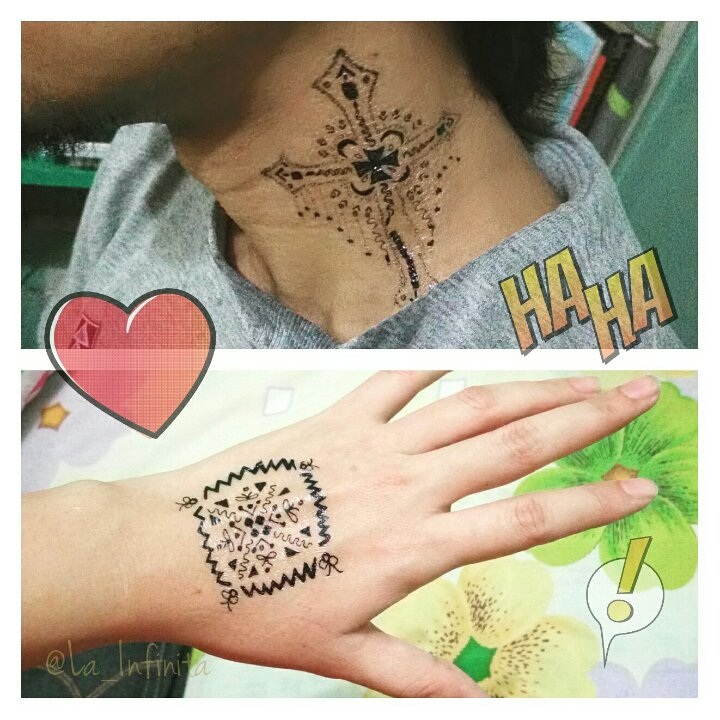 My temporary tattoo designs on my hand and my bro's neck.