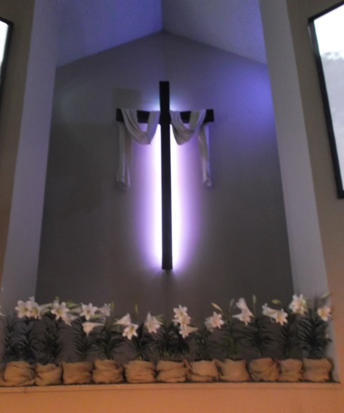 The cross in church at Easter--taken by me