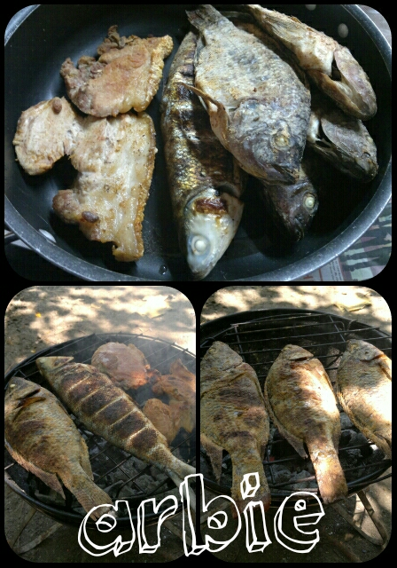 Photo is mine. Fish and meat...  grilling