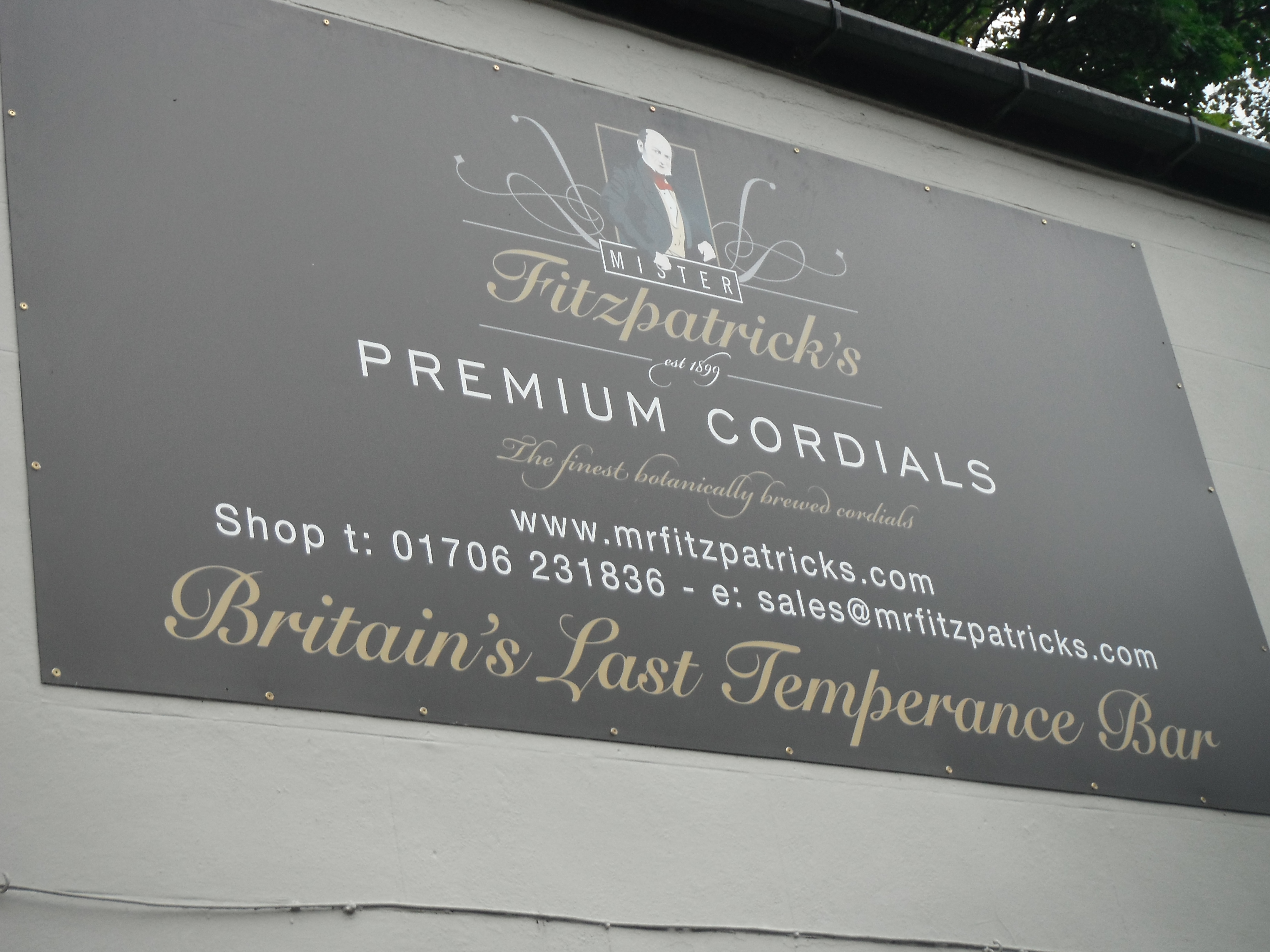 Photo taken by me – the non-pub sign for Mr Fitzpatrick's, Rawtenstal, Lancashire