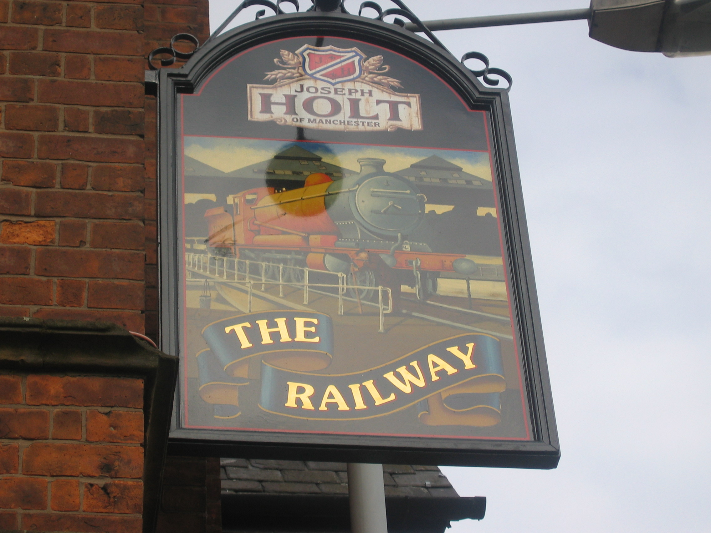 Photo taken by me – pub sign for The Railway Hotel, Newton Heath  – Manchester
