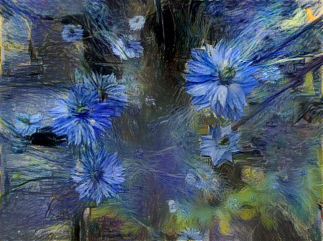 Photo taken by me of Love in a Mist with Starry Night Effect on LunaPic.com