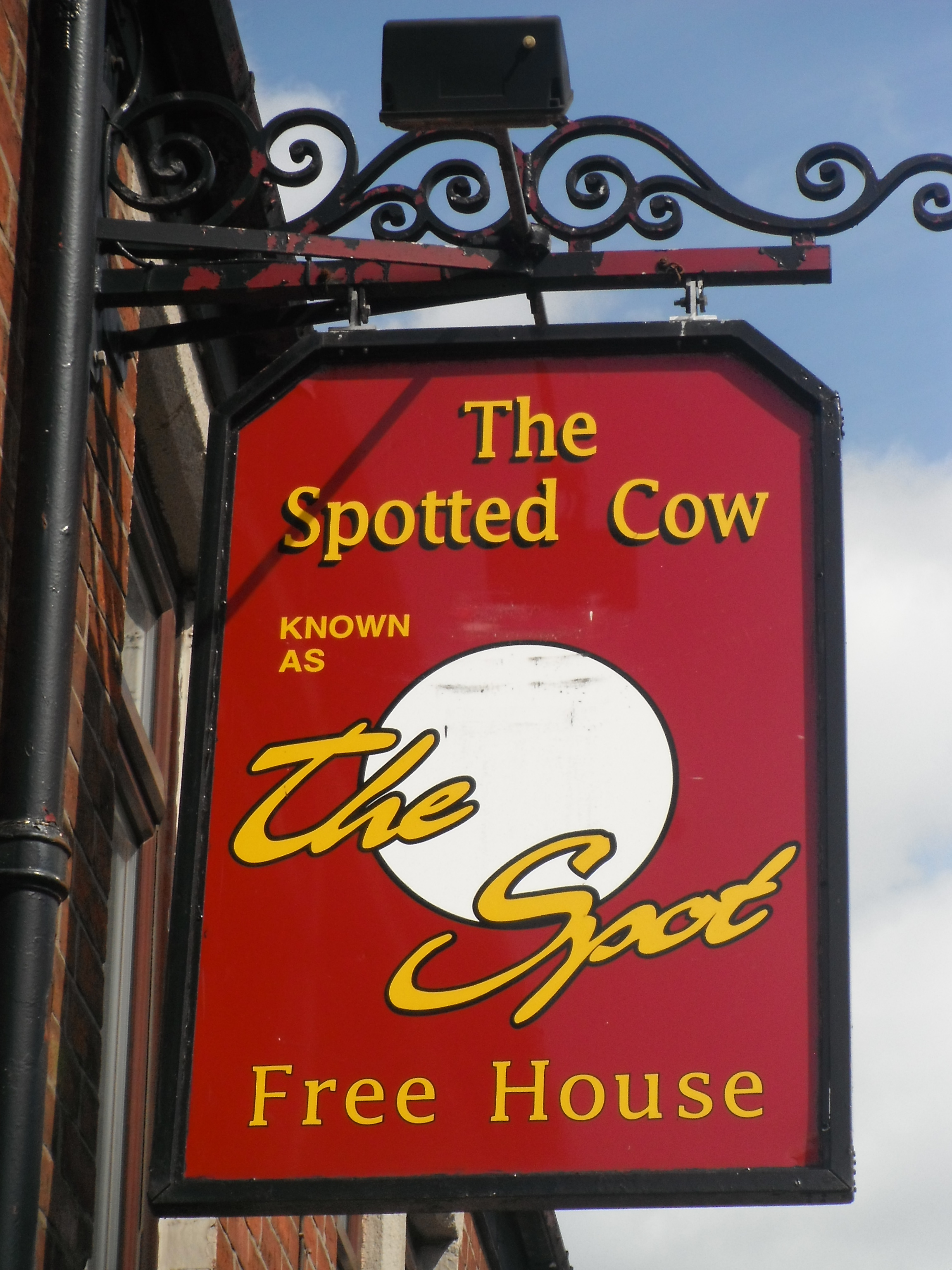 Photo taken by me – The Spotted Cow pub sign, Bury, Manchester