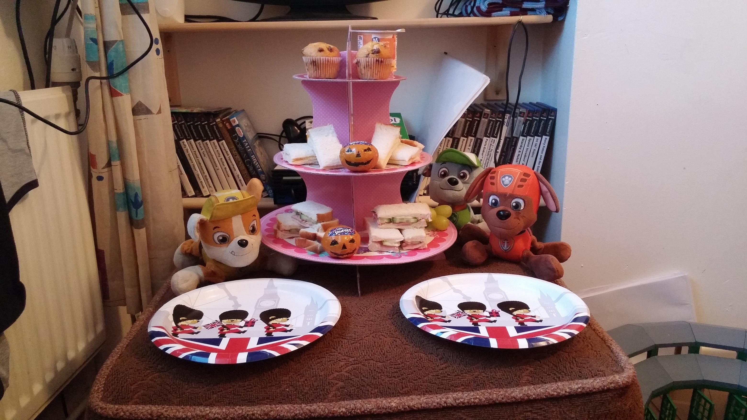 Photo is mine, of the Teddy Bear's picnic we had for dinner tonight