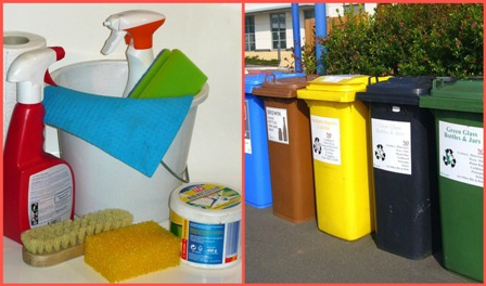 recycling bins and cleaning materials from pixabay