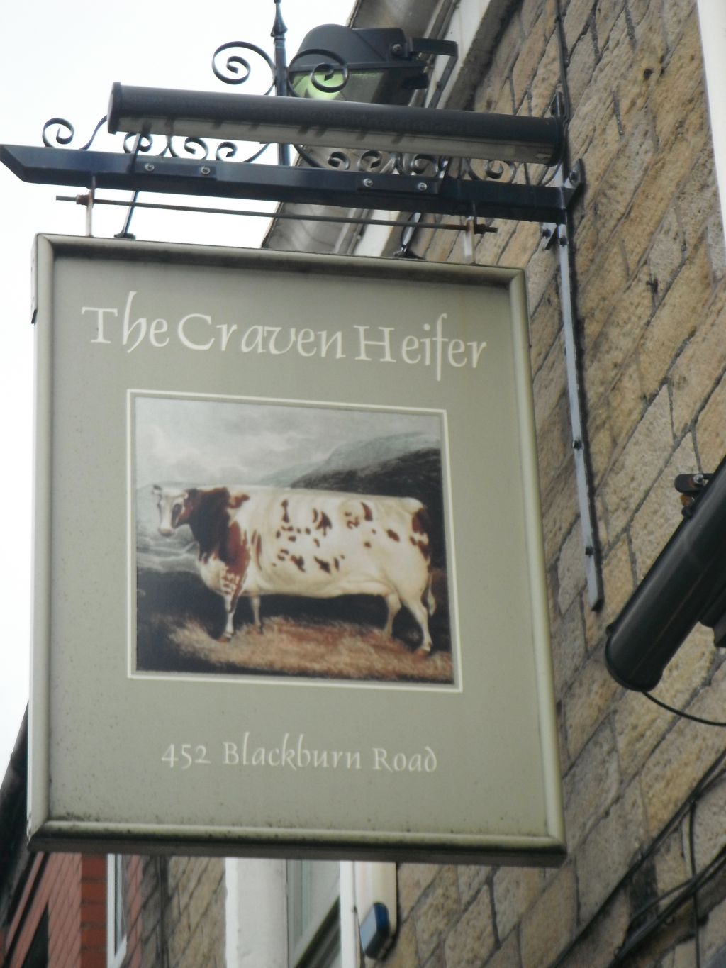 Photo taken by me - The Craven Heifer pub sign, Halliwell Bolton Lancashire