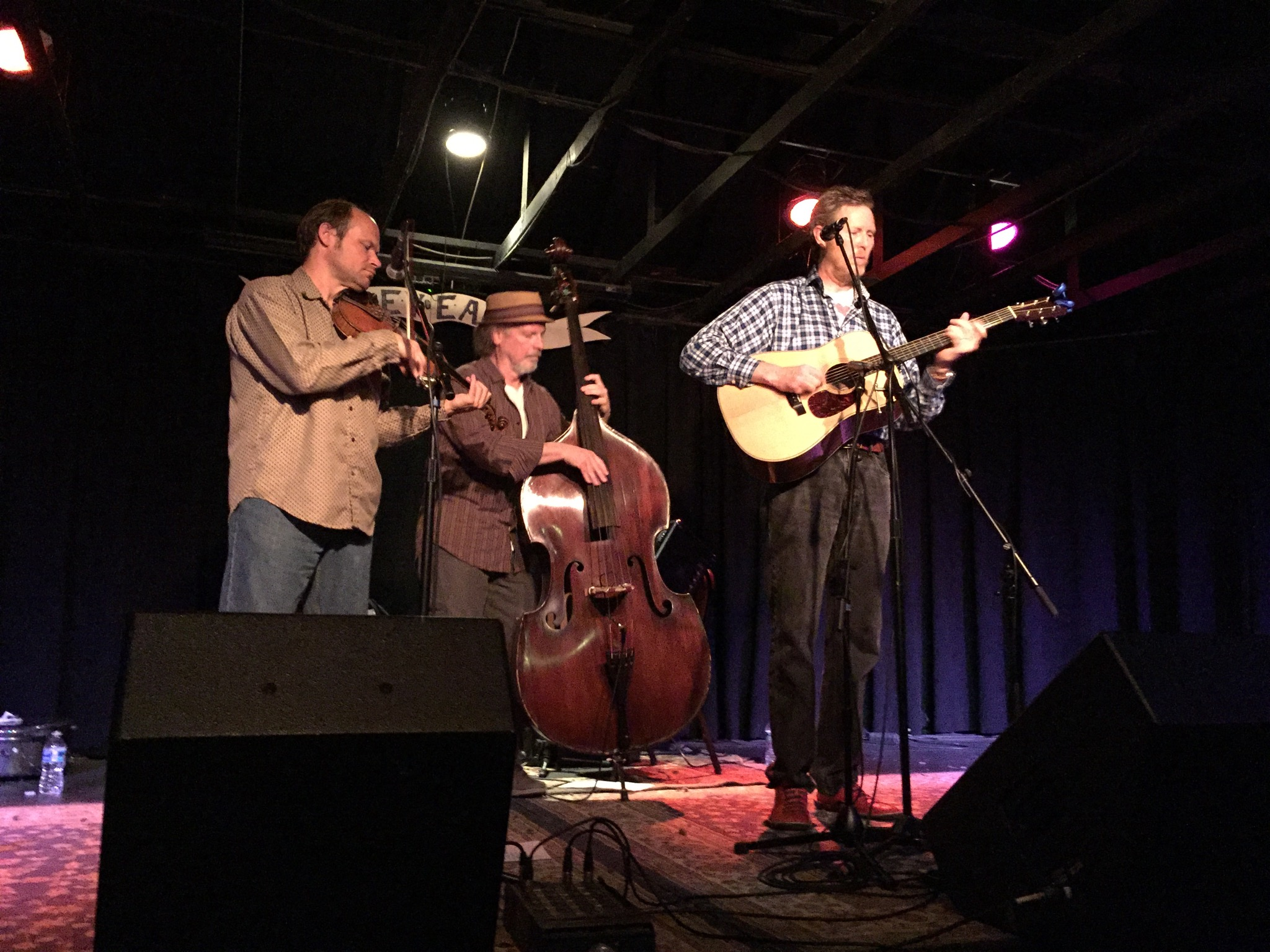 L-R: Shad Cobb, Todd Phillips, and Robbie Fulks at the Grey Eagle in Asheville, NC.  Photo taken by and the property of FourWalls.