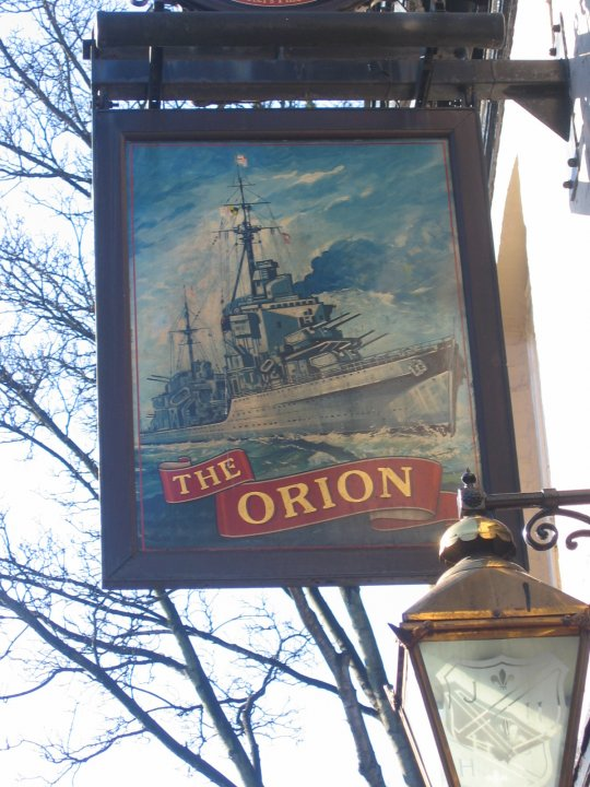 photo taken by me - The Orion pub sign, Withington, Manchester