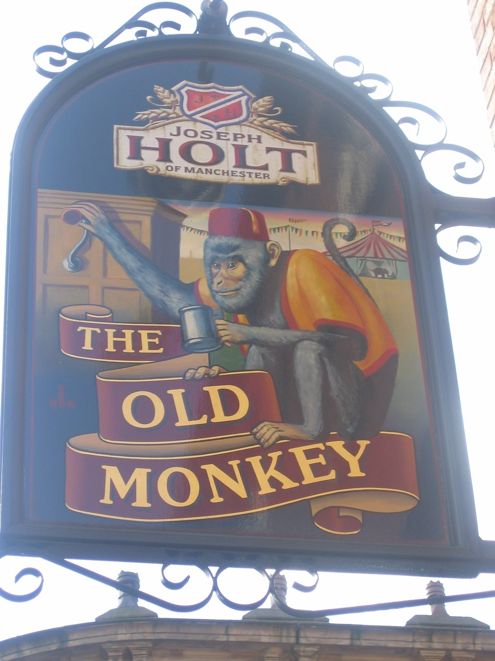 Photo taken by me – pub sign for The Old Monkey – Manchester