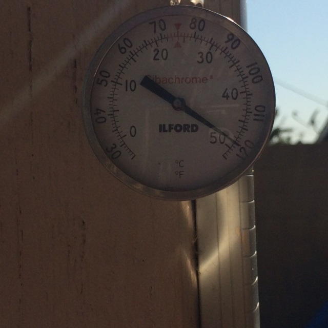 image is my own: thermometer on the back patio