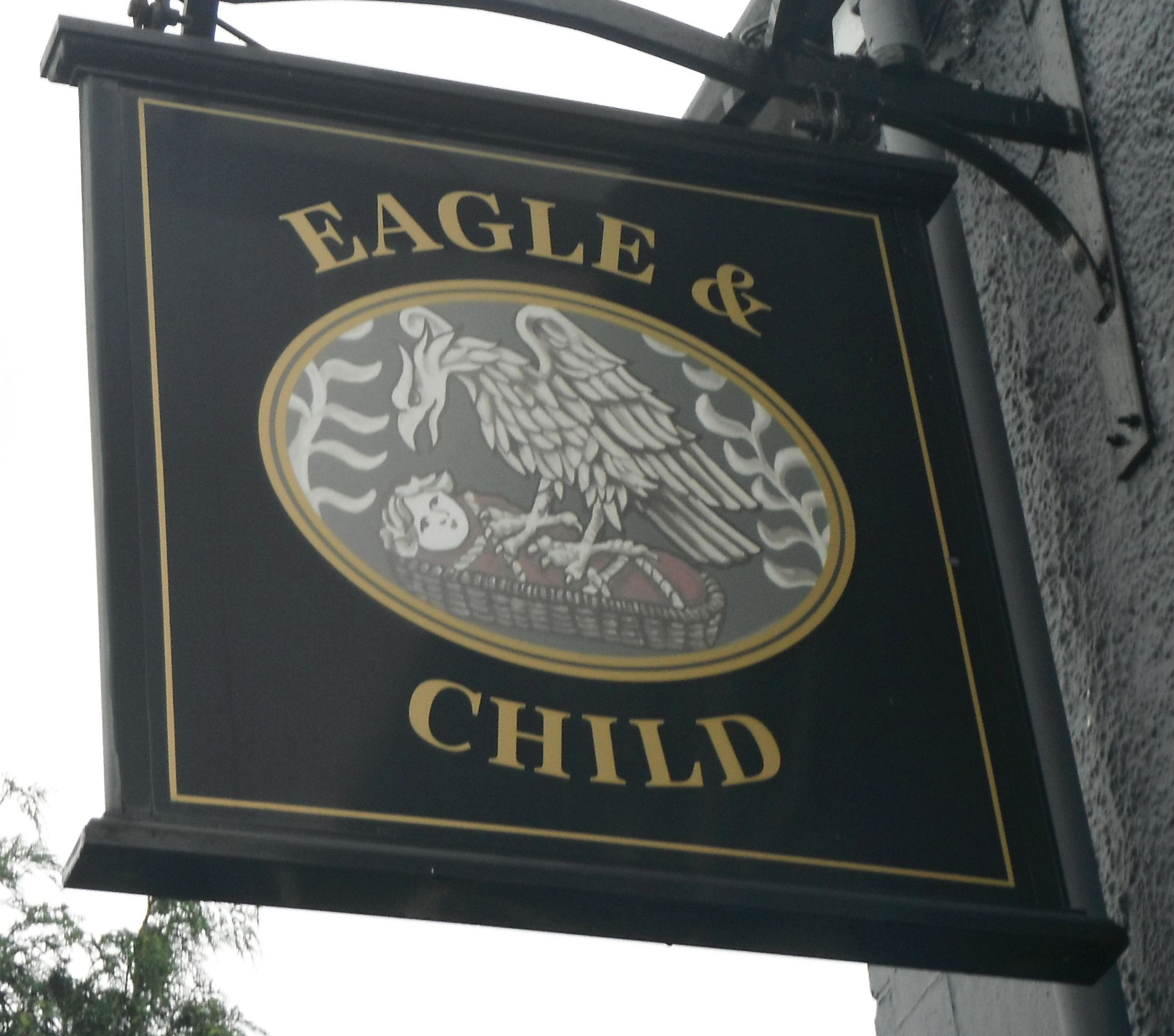 Photo taken by me – the Pub Sign for The Eagle And Child  Ashton-In-Makerfield Lancashire