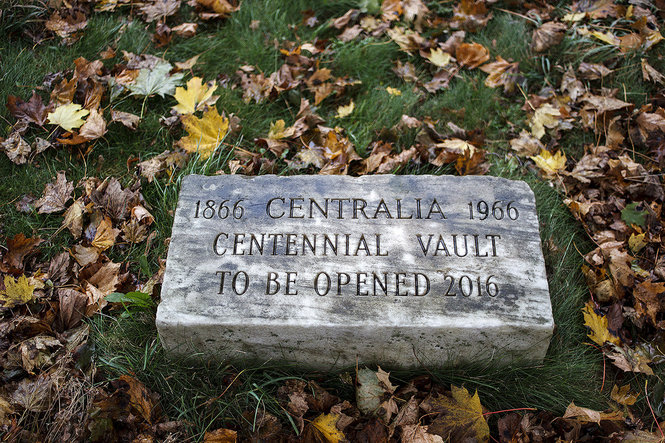 One of five time capsules buried within the Centralia city limits