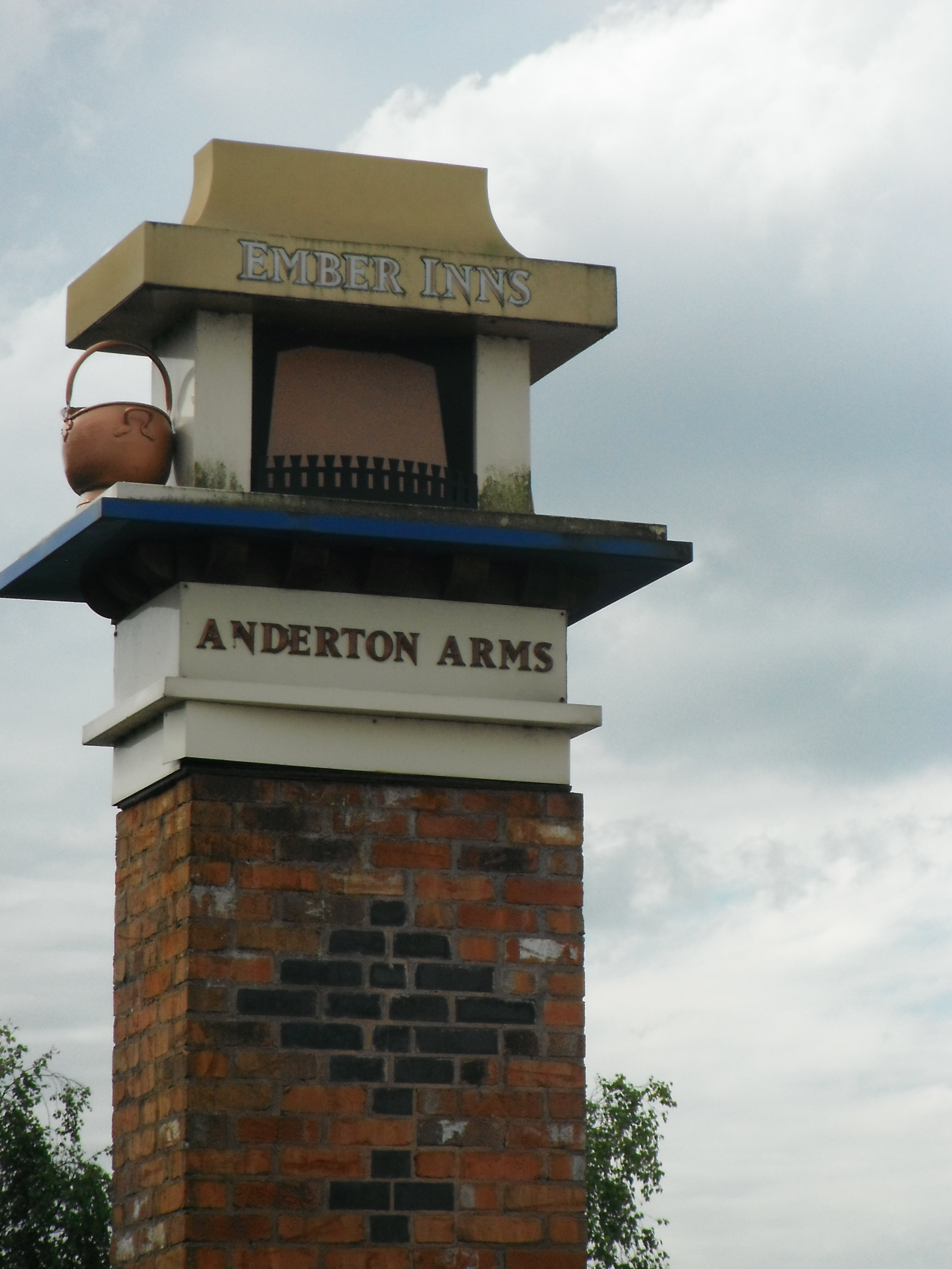 photo taken by me - the pub sign for The Anderton Arms, Fulwood, Preston