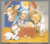 Nativity Scene - Shows the nativity scene with chrildren representing Mary and Joseph
