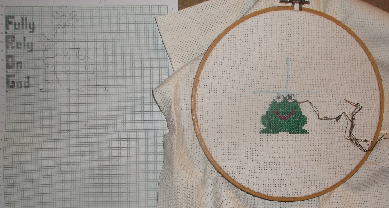 Photo I took of my progress on my most recent counted cross stitch project
