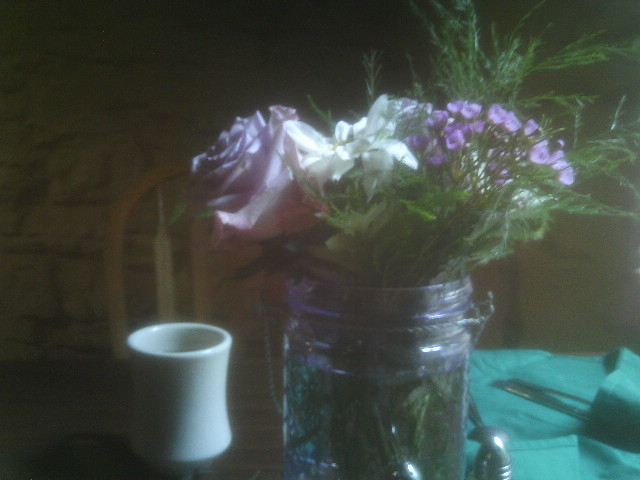 flowers on the table in a restaurant