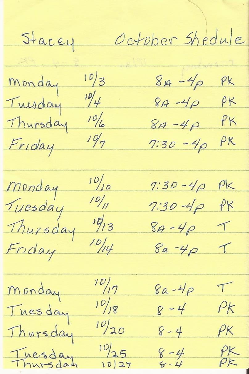 Scan of my schedule for October