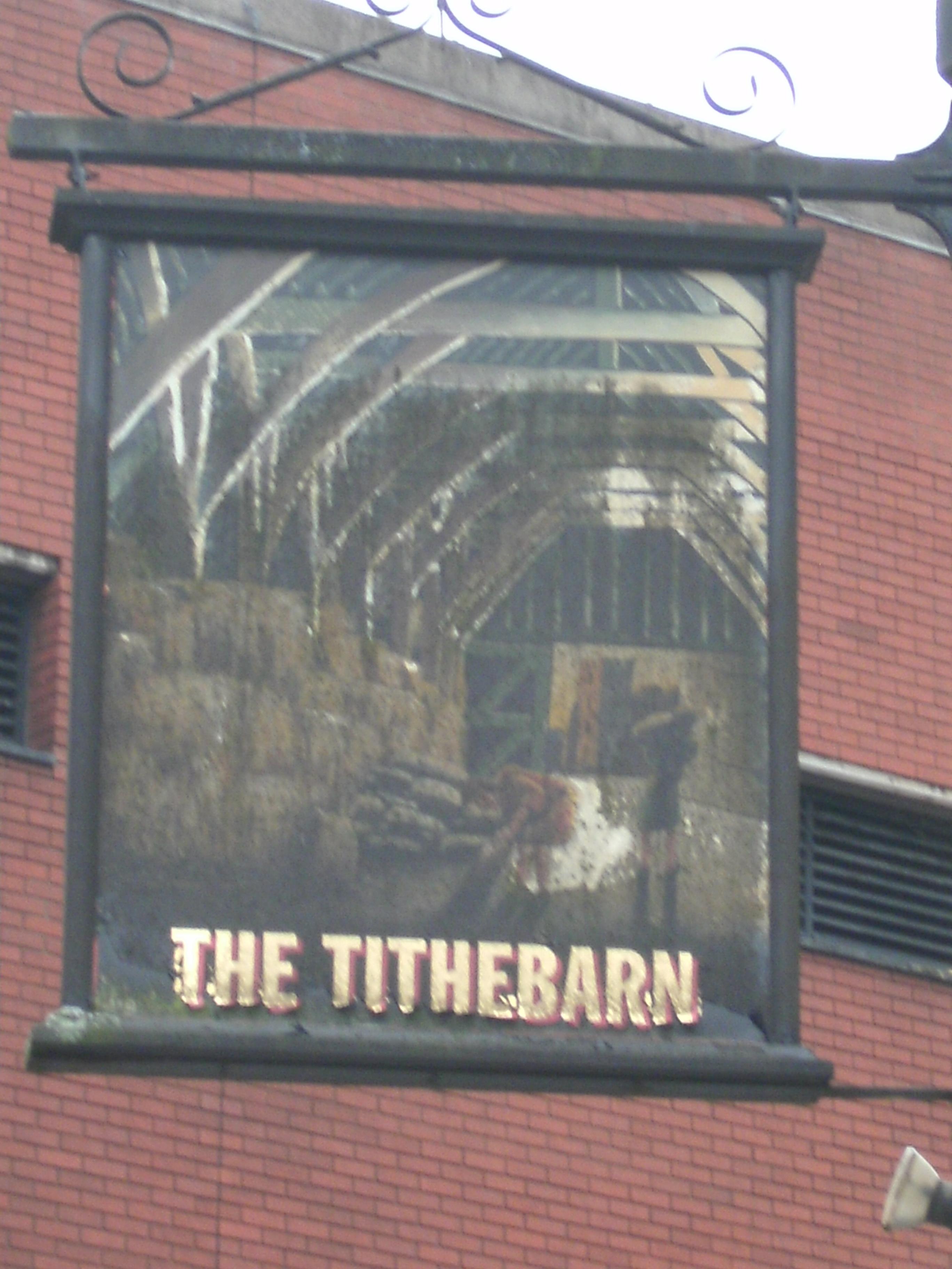 Photo taken by me – Preston pub sign – The Tithebarn