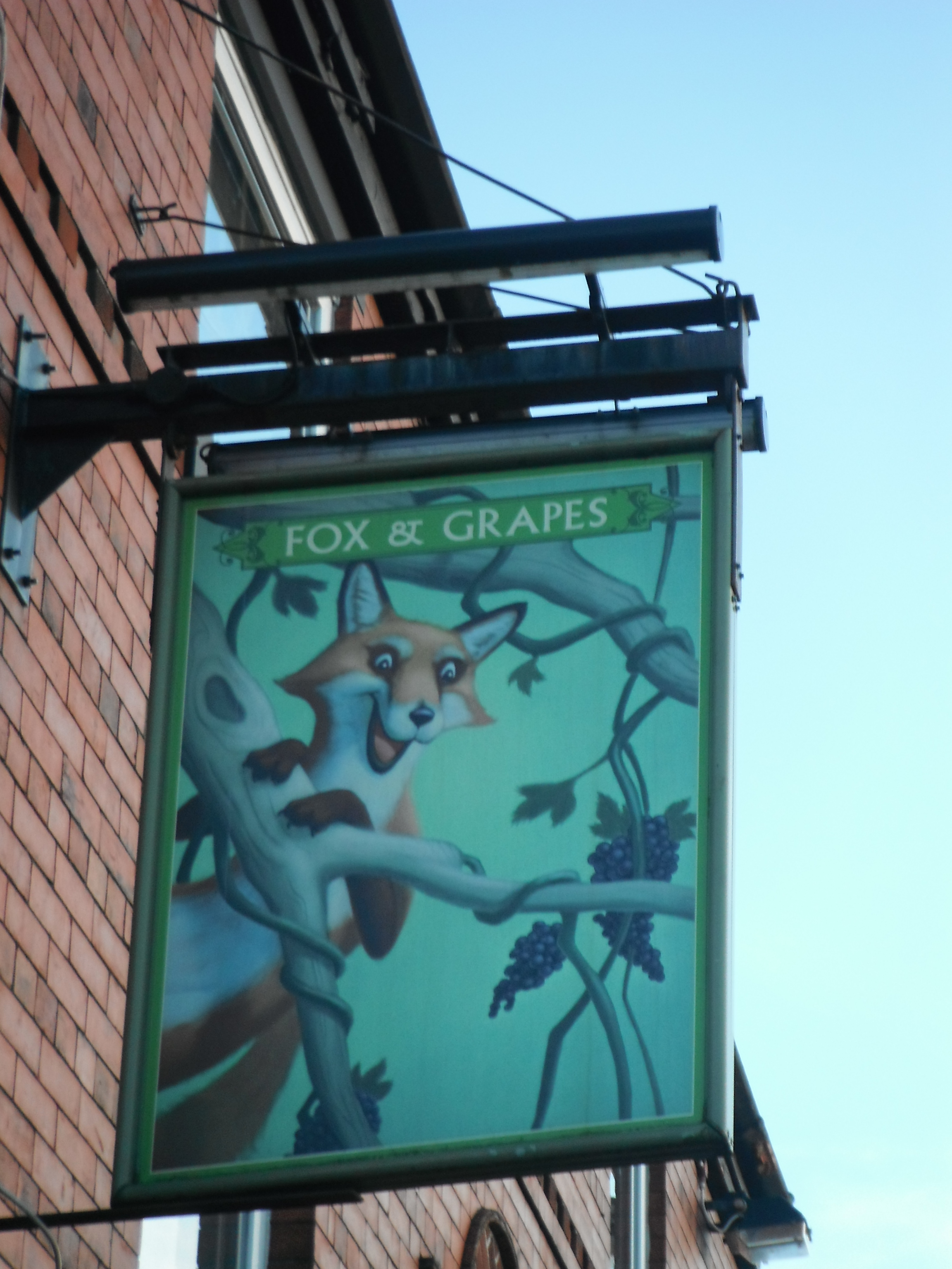 Photo taken by me – The Fox And Grapes pub sign, Preston