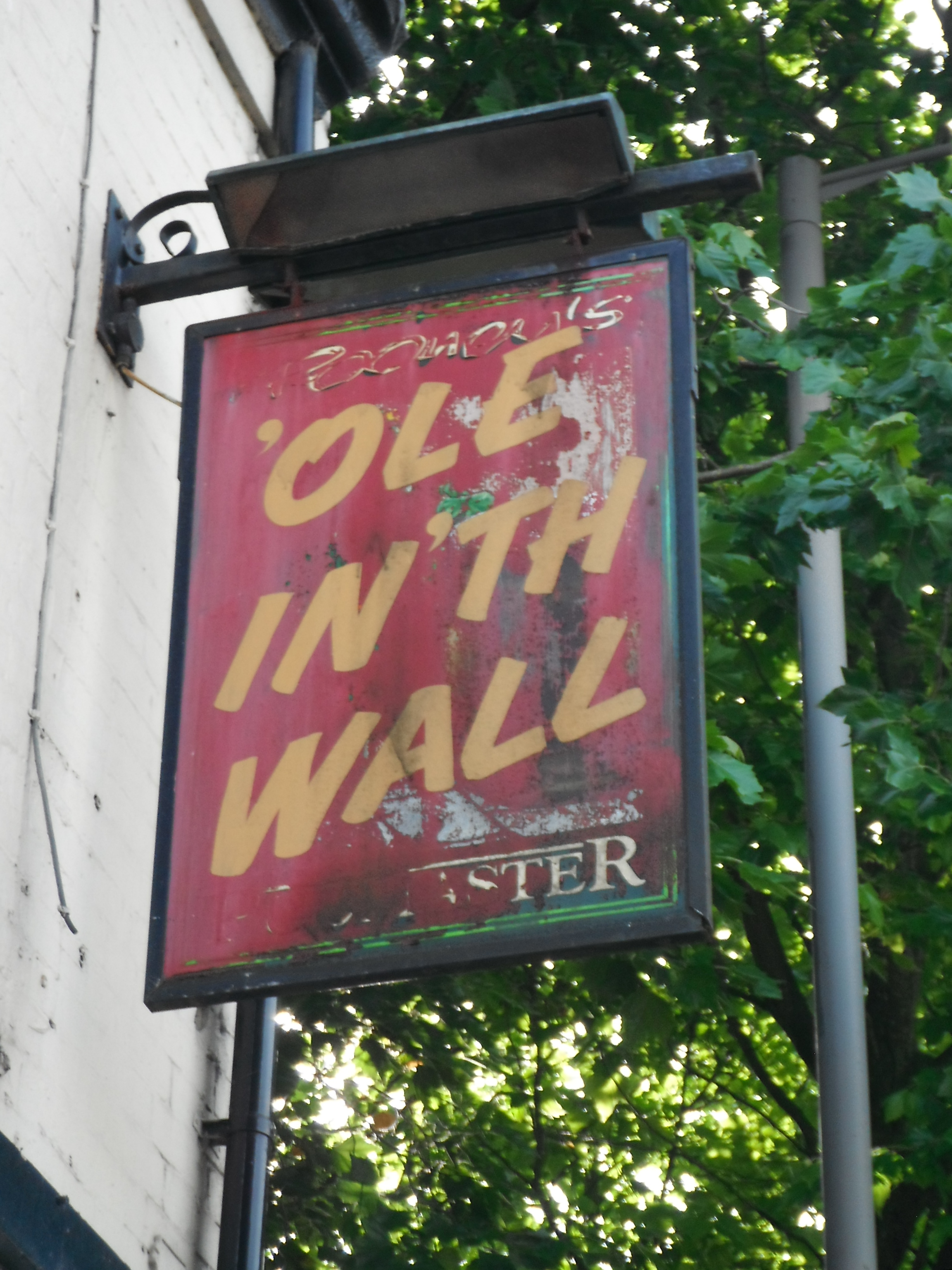 Photo taken by me – The 'Ole In The Wall pub sign, Preston