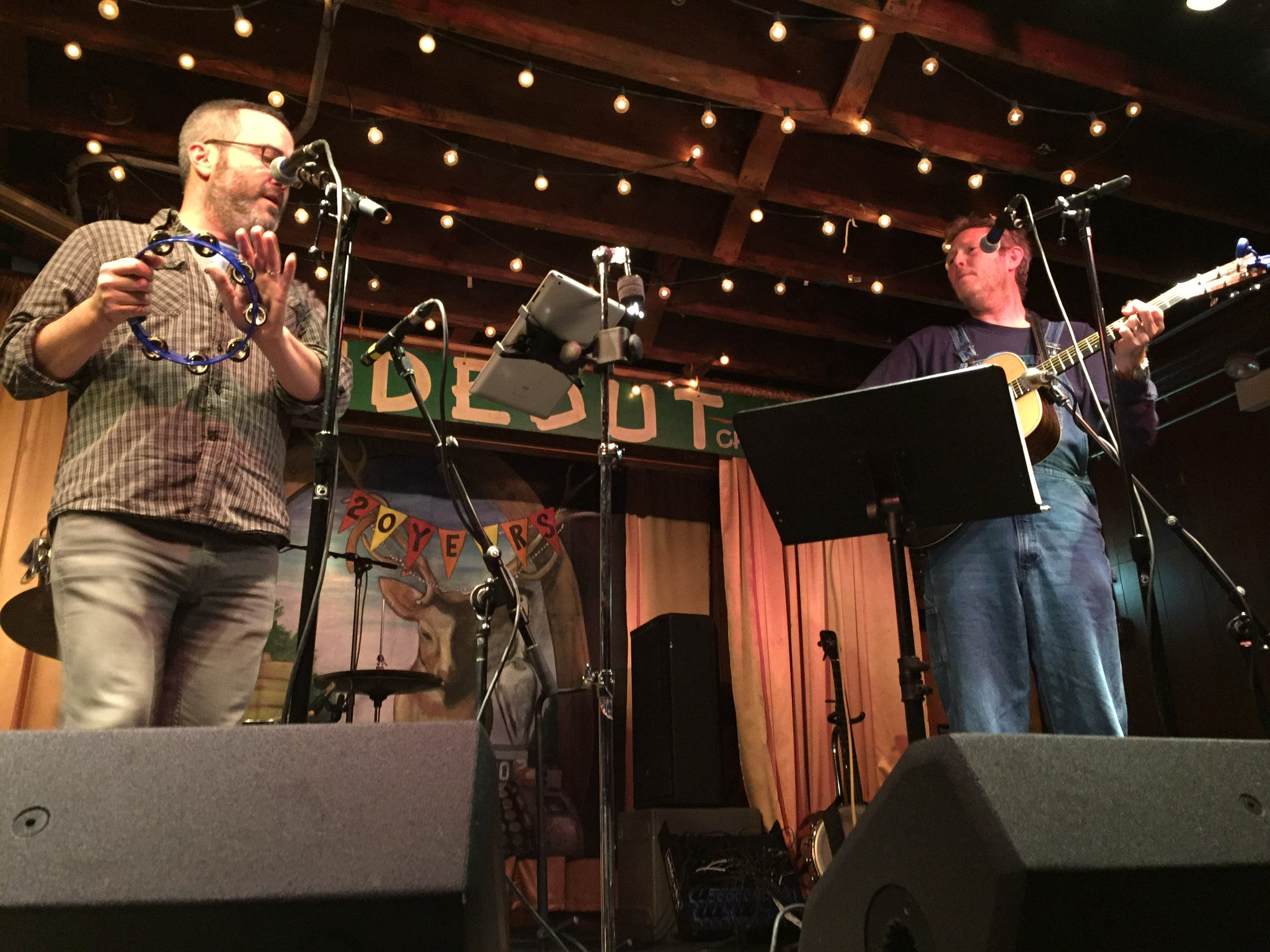"Gerald Dowd (left) and Robbie Fulks  singing ""Try Leaving"" during their show at the Hideout.  Photo taken by and the property of FourWalls."