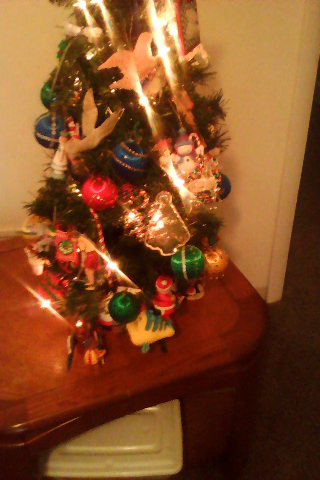 This is my mini pre-lit Christmas tree.