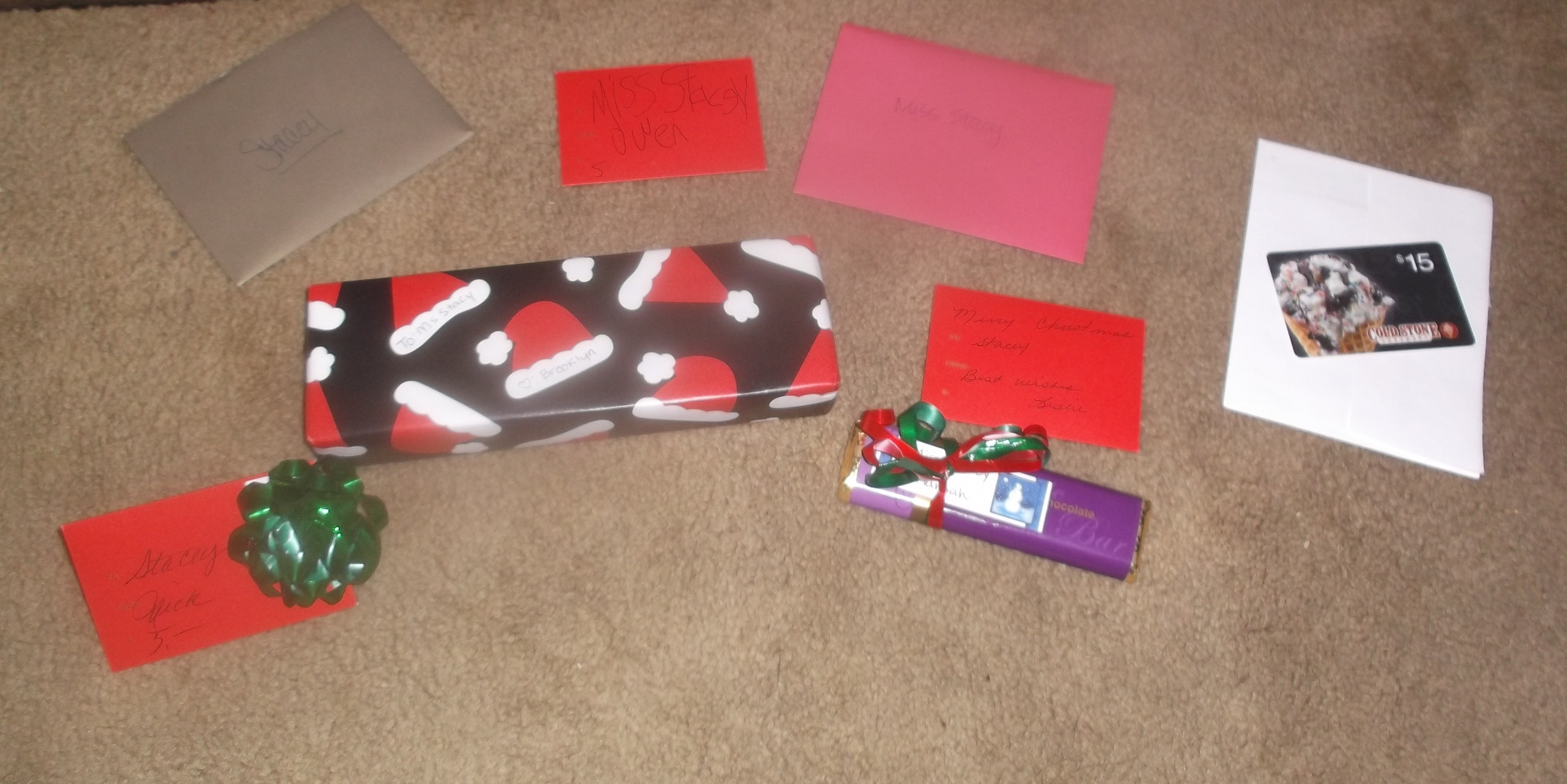Photo I took of all of the gift cards and things that I got from kids/parents/my boss at work