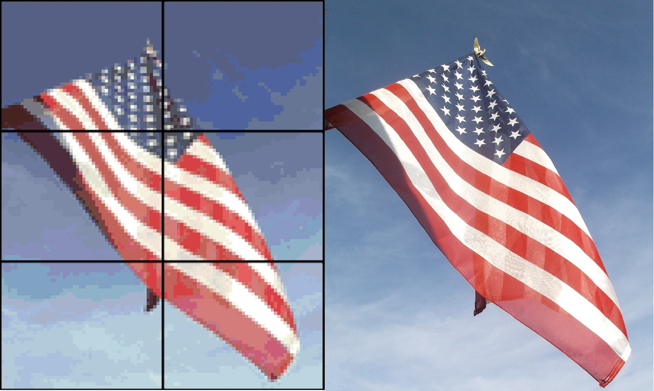 Photo I took of our flag, and the pattern I made from it