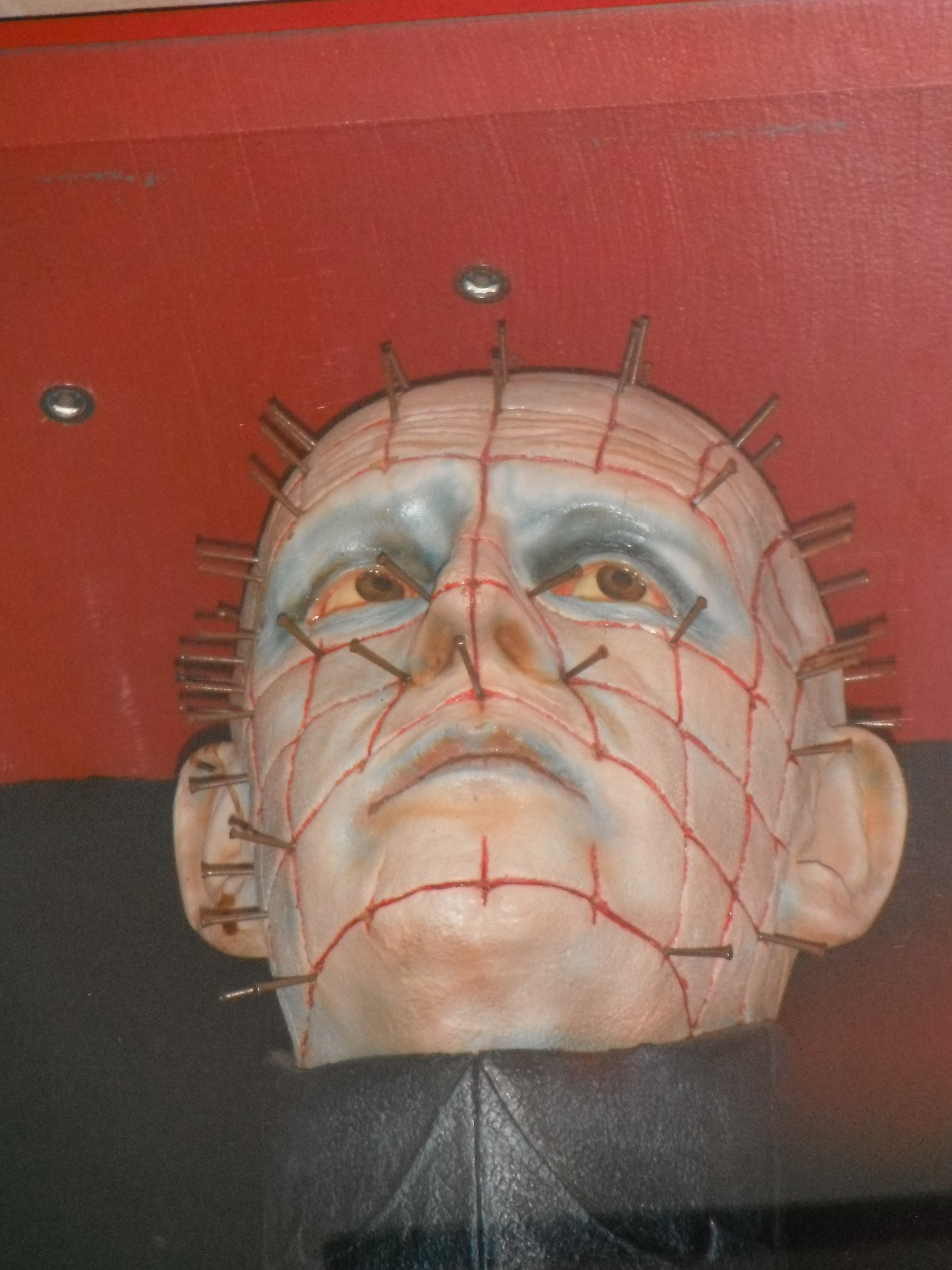 photo taken by me - Hellraiser Pinhead Mask, FAB Cafe, Manchester