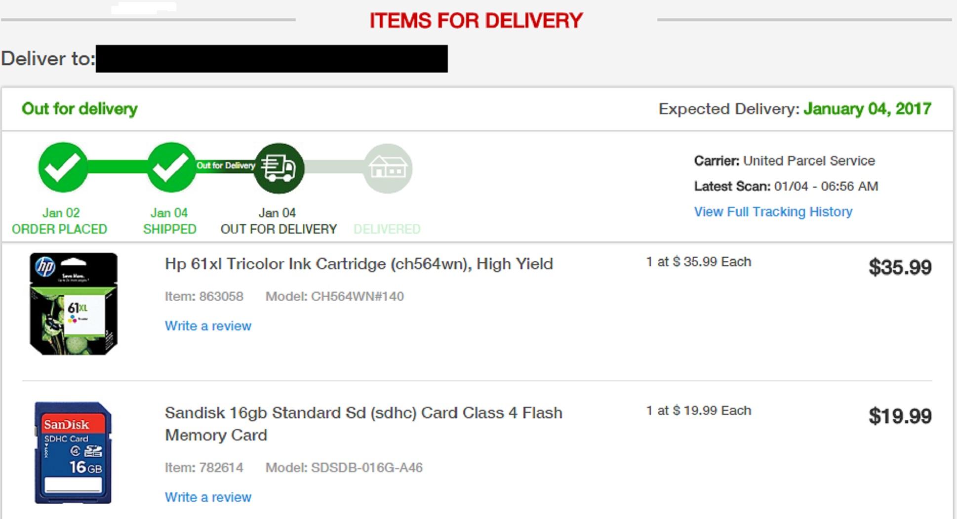 Screencap I took of my Staples order
