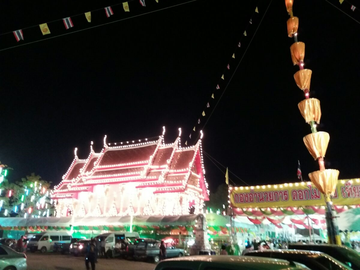 Festival Lights at Local Temple, Phetchaburi Thailand