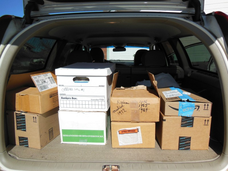 Boxes of Books to Donate Loaded into My Car