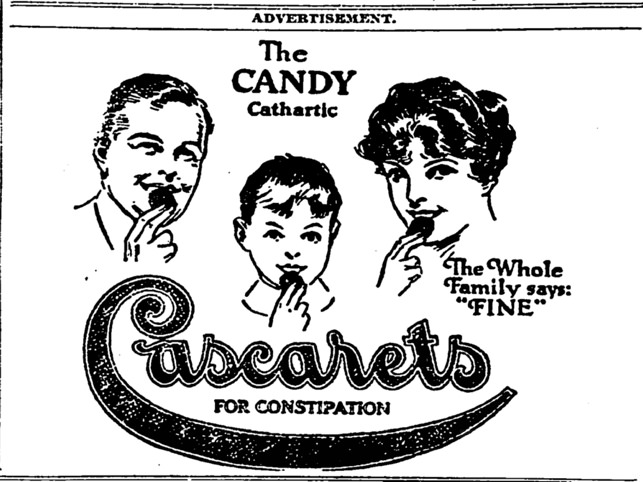 Old school ad for laxatives from early 20th century