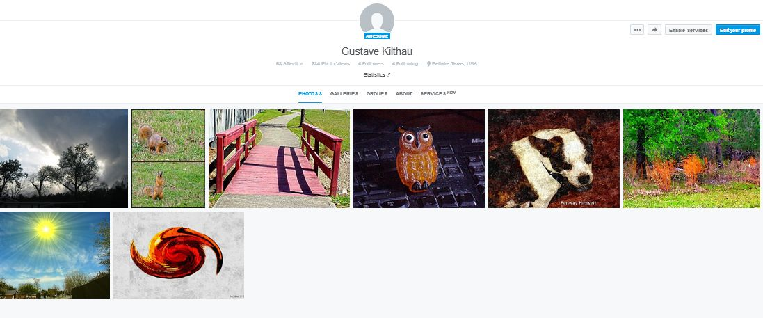 "Screenshot of my ""Gallery"" of a few pix I put up on 500px."