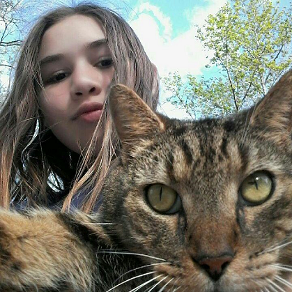 My oldest daughter and Pebbles